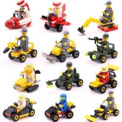 12 видов мини транспорт блок для автомобиля, самолета здание Совместимо legoeINGlys Duplo город Soliders полиции кирпичи дети игрушечные лошадки