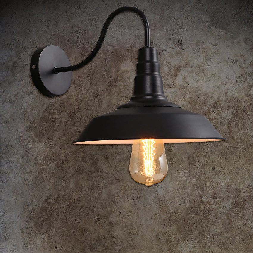 Loft vintage black lampshade wall lights industrial warehouse wall loft vintage black lampshade wall lights industrial warehouse wall lamps e27 for decor wall sconces light fixture luminaire in wall lamps from lights mozeypictures Gallery