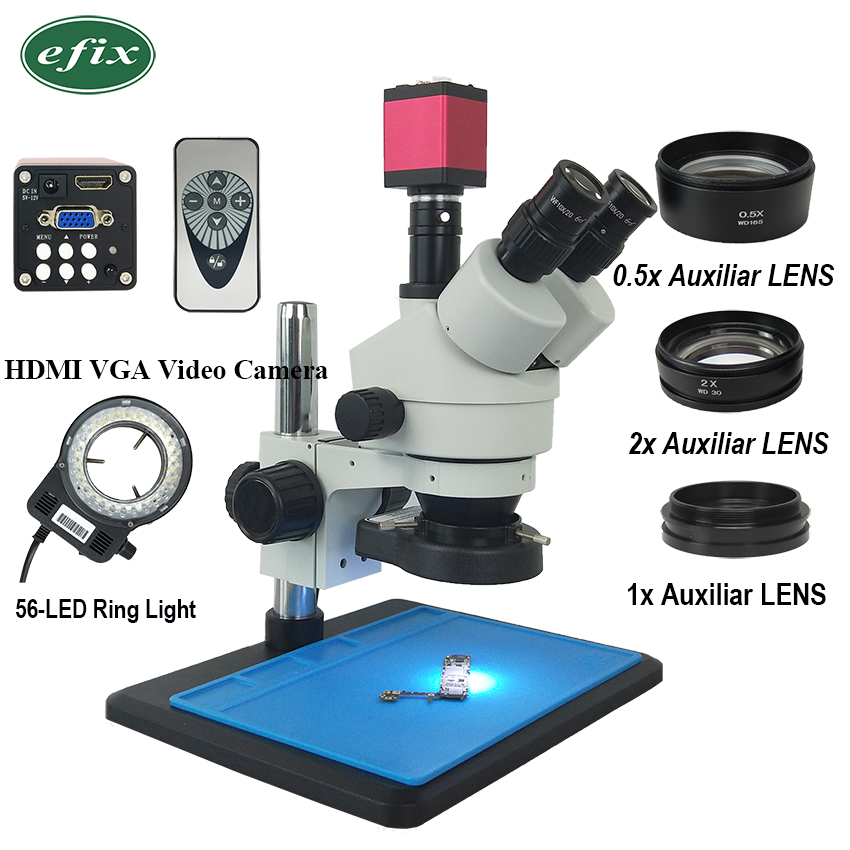 efix 13MP 3.5 90X HDMI VGA Trinocular Stereo Microscope Simul Focal Continuous Zoom Video Camera Phone PCB Soldering Repair Tool-in Microscopes from Tools    1