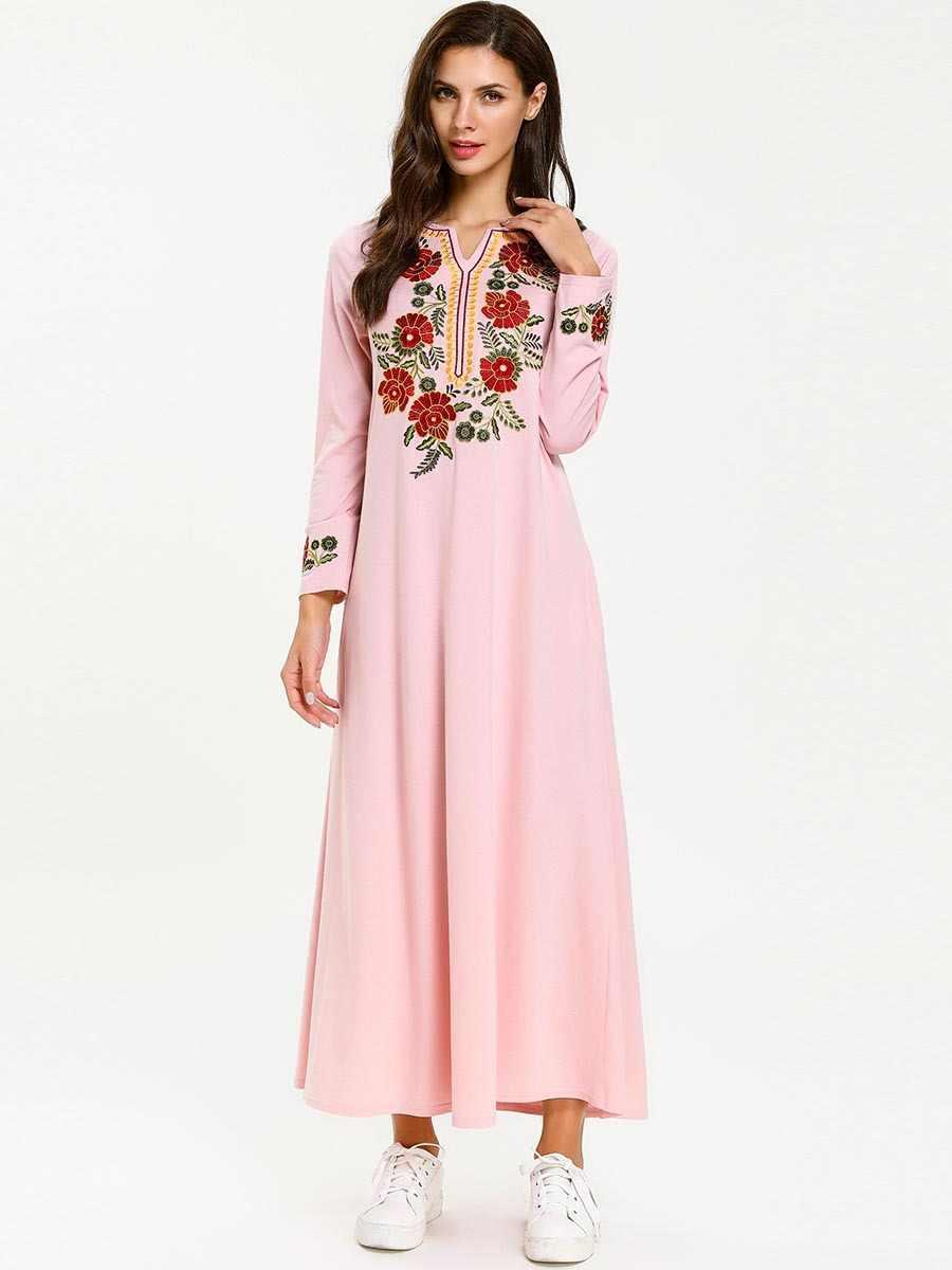 2019 Рамадан хлопок мусульманское платье Турция абайя Женская Вышивка V шеи длинное платье элегантное женское вечернее платье исламское кафтан арабское платье