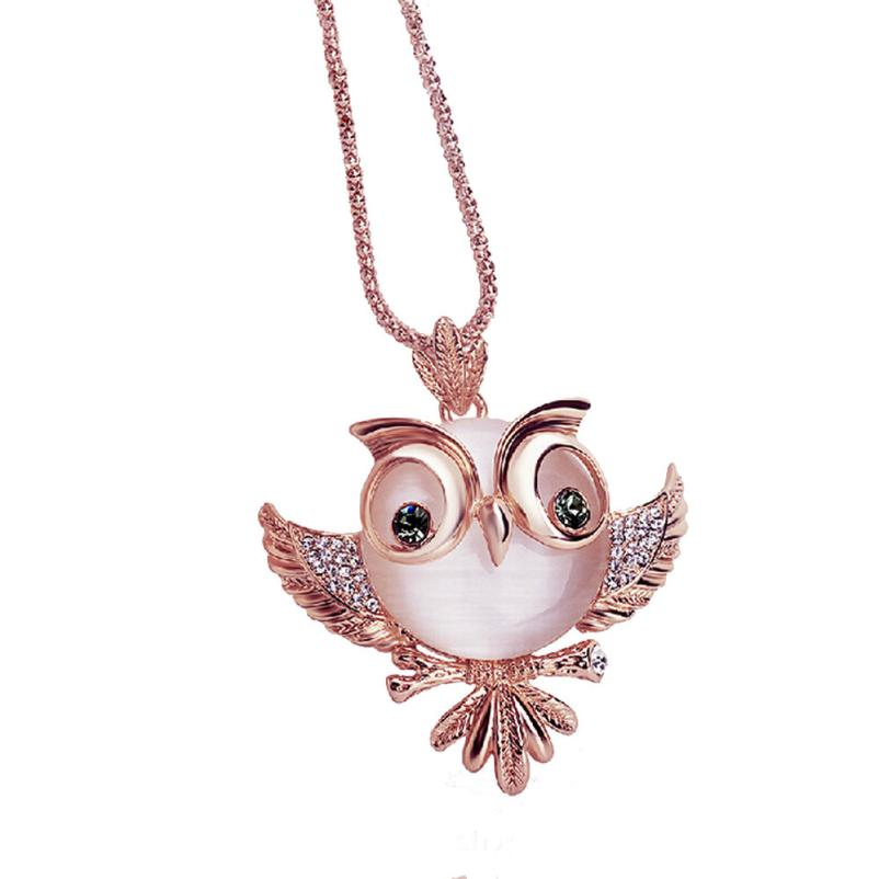 2018 New Rose Gold Retro Antique Alloy With Rhinestone Crystal Owl Necklace Z0410#30