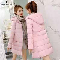 PinkyIsBlack 2019 winter coat women medium long coat parkas female outerwear women hooded down cotton padded winter jacket women