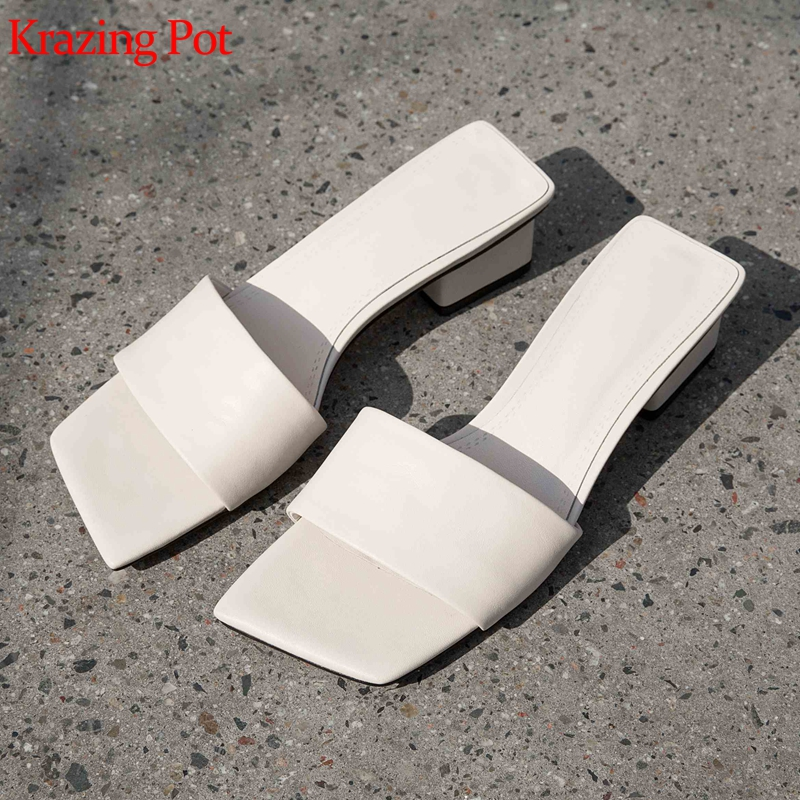 Krazing Pot 2019 Genuine Leather Summer Mules Square Toe Med Heels Peep Toe Top Quality British Design Solid Color Sandals L11