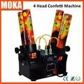 Máquina de confete de casamento confetti canhão DMX 512 controlador 4 Titular Atirador do Confetti Máquina Lançador