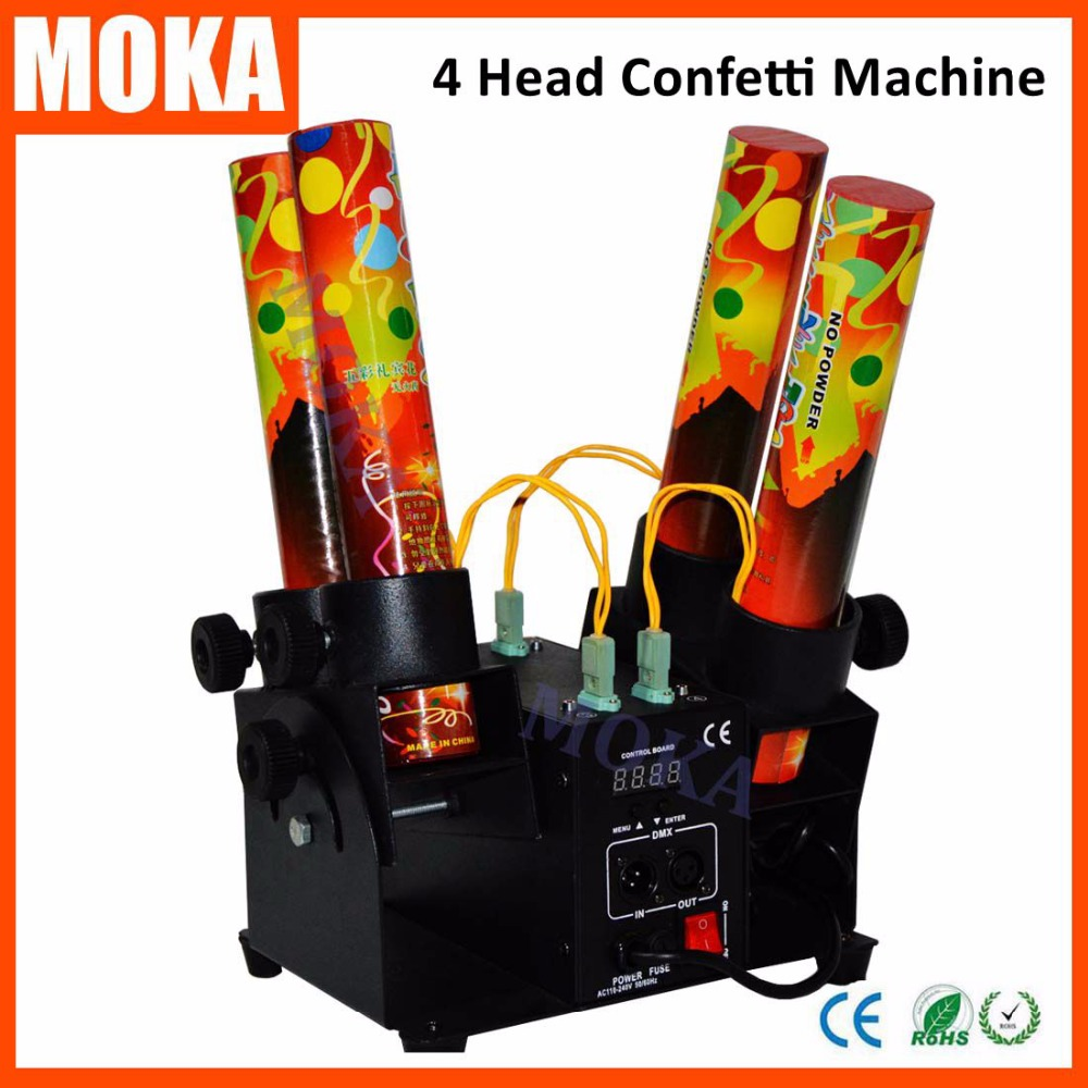 Wedding confetti machine confetti cannon DMX 512 controller 4 Holder Confetti Shooter Launcher Machine paper cannon confetti machine 4 head confetti shooter with special effects continuous flow confetti cannon