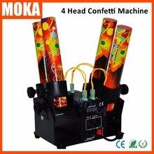 Máquina de confeti confeti cañón boda DMX 512 controlador 4 Titular Tirador de Confeti Lanzador Máquina