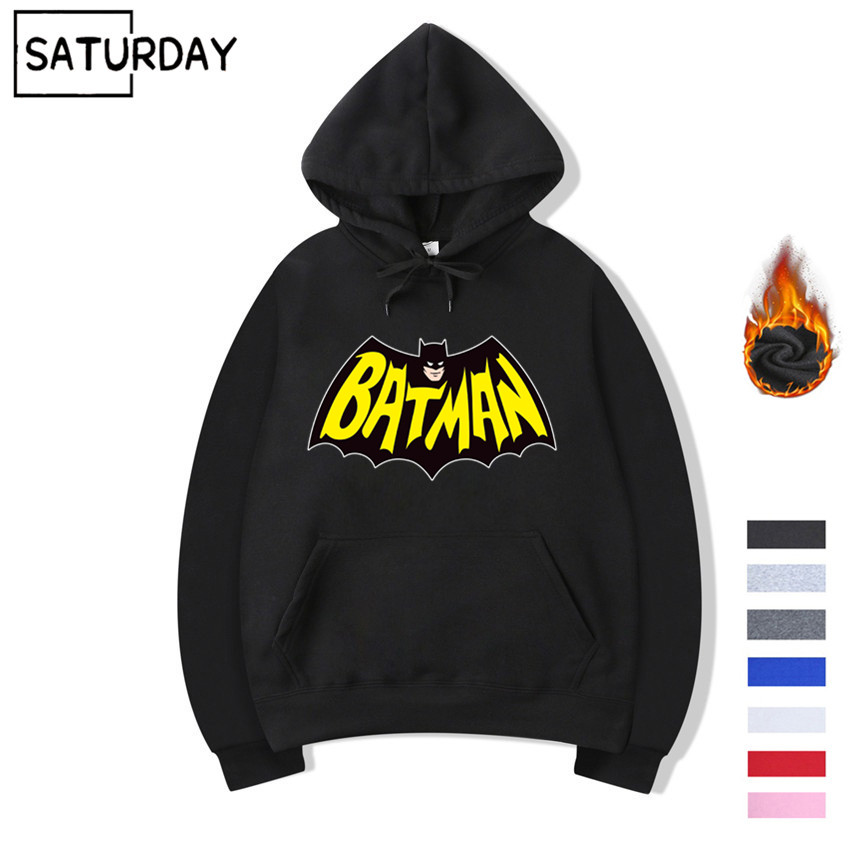 Men's Batman Superhero Cartoon Design Hoodie Winter Women Harajuku Fleece Warm Sweatshirts Streetwear Unisex Autumn Hoodie