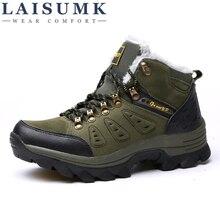 LAISUMK Men Boots Anti-skidding Winter Shoes Plush Warm Plus Size 36-47 High Quality aX5
