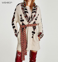 WISHBOP NEW 2017 Geometric jacquard Knitted Cardigan Coat With belt long sleeves draped neck side pockets Side Pockets
