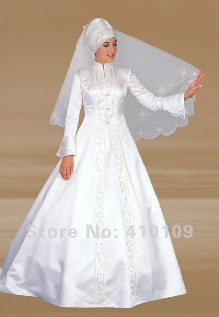 Pengiriman Gratis Satin Lengan Panjang Rmm03 Muslim Gaun Pengantin