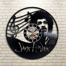 1Piece Electric Guitar Player Jimi Hendrix Vinyl Record Wall Clock Musical Handmade Vinyl Clocks Home Decor