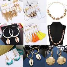 ZOSHI Sea Shell Earrings For Women Gold Color Trendy Metal Shell Cowrie Statement Dangle Earrings 2019 New Summer Beach Jewelry(China)