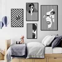 Nórdico, decoración de casa de moda minimalista abstracto personajes a cuadros blanco y negro de arte Decor pintura de la lona de la pared fotos