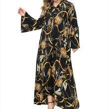 2019 Chiffon Muslim Indonesian Plus Size 5XL Print Women Long Dress New Fashionable V-neck Bow-knot Female Maxi Dress with Belt fashionable round neck chiffon dress w waist belt green l