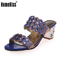 Women High Heels Sandals Summer Open Toe Slippers Party Chunky Heeled Sandals Female Gold Shoes Size