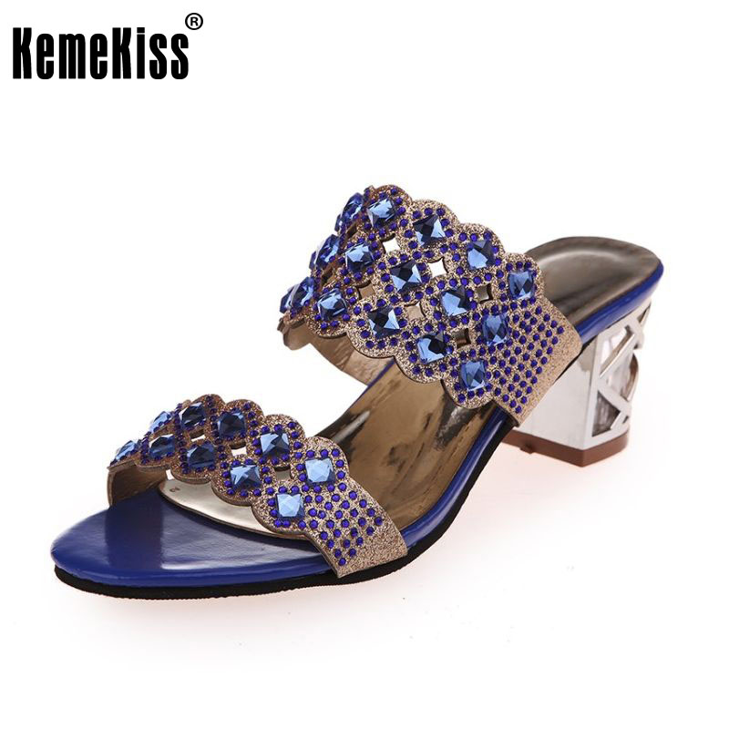 women high heels sandals summer open toe slippers party chunky heeled sandals female gold shoes size 35-40 WA0550 summer women leather high heeled shoes sandals rhinestone pump sandals ladies open toe slippers plus size 33 41