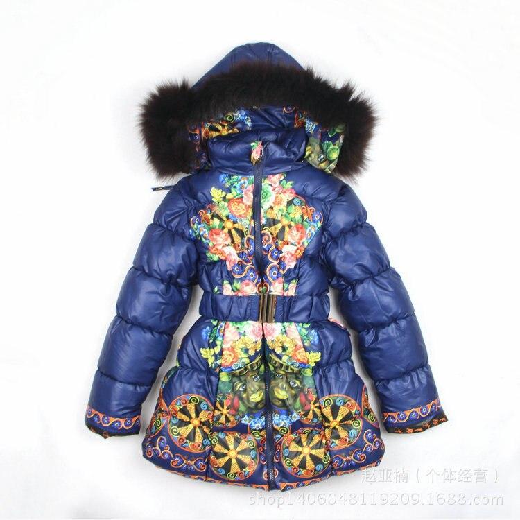 2016 New Children's Winter Clothing Set baby girl Ski jacket suit  kids  Windproof  Floar Warm Fur down long Jackets Coats new 2016 baby down coats set baby down jacket suspenders girl