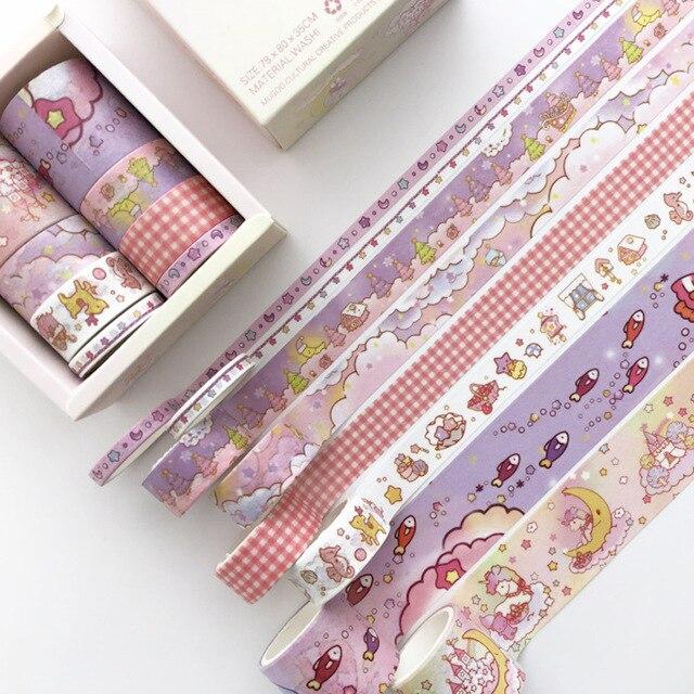 8 Pcs/pack Dream World Unicorn Bullet Journal Washi Tape Set Kawaii Paper Adhesive Tape DIY Scrapbooking Sticker Label Masking