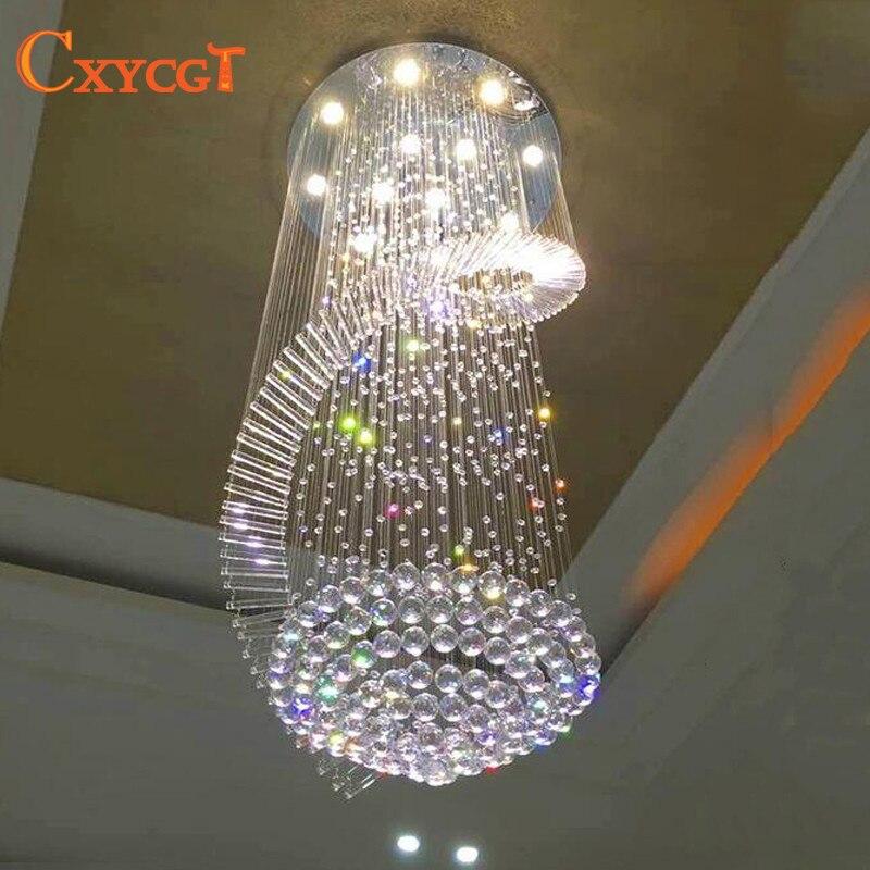 Nouveau lustre moderne LED lampes en cristal long pendentif lustre lustres de cristal kronleuchter, AC110-240V lustre d'escalier