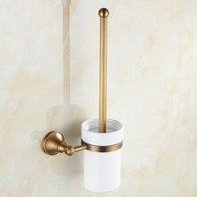 Juego de portaescobilla de baño de latón antiguo Retro Vintage montado en la pared accesorio de baño Taza de cerámica individual mba149