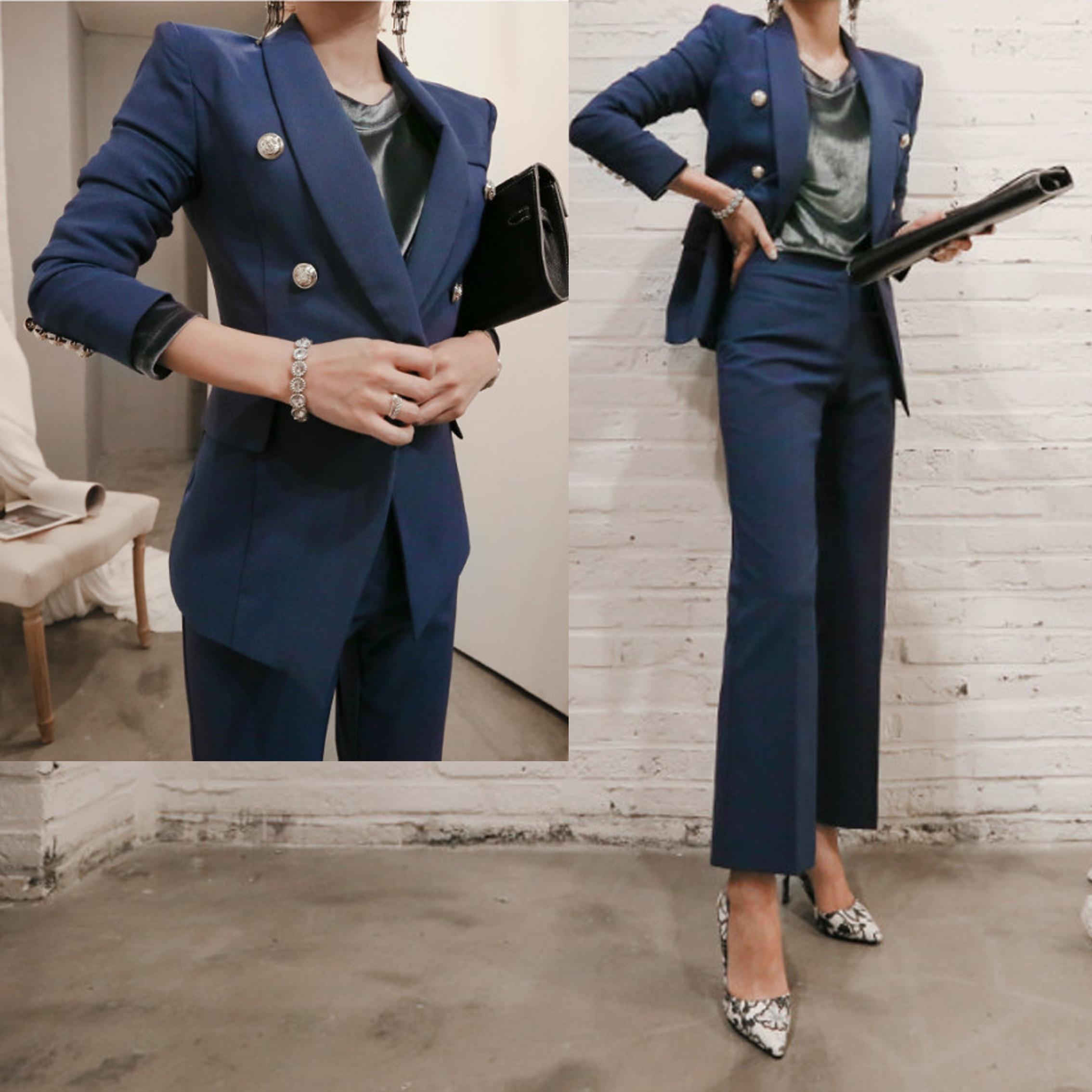 Conçoit Automne Uniforme Costumes Blazer 1 Ensemble Bureau Pantalon Patchwork 2 Long Féminin Les Costume Veste Double Pièce Boutonnage Femmes 7zwqCqHg