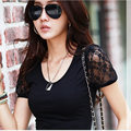 Plus Size New Summer 2014 Korean Lace Stitching Shirt Puff Sleeve Fashion Women Clothing Slim Tops Cotton Casual T-Shirt XXXXL