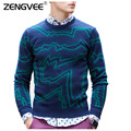2017 Sweaters Men Cotton Slim Comfortable Hedging Standard Sweaters Full Jacquard Warm Casual Stripe Mens Clothing