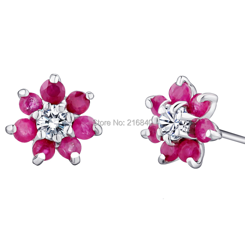 Natural Ruby Fancy Sappphire Flower Stud Earrings In 925 Sterling Silver Women's Jewelry Lovely Elegant Birthstone Gift se0051r natural pink ruby ring flower in 925 sterling silver fancy sapphire jewelry fashion elegant luxury birthstone gift sr0159r
