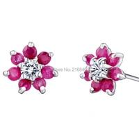 Natural Ruby Fancy Sappphire Flower Stud Earrings In 925 Sterling Silver Women's Jewelry Lovely Elegant Birthstone Gift se0051r