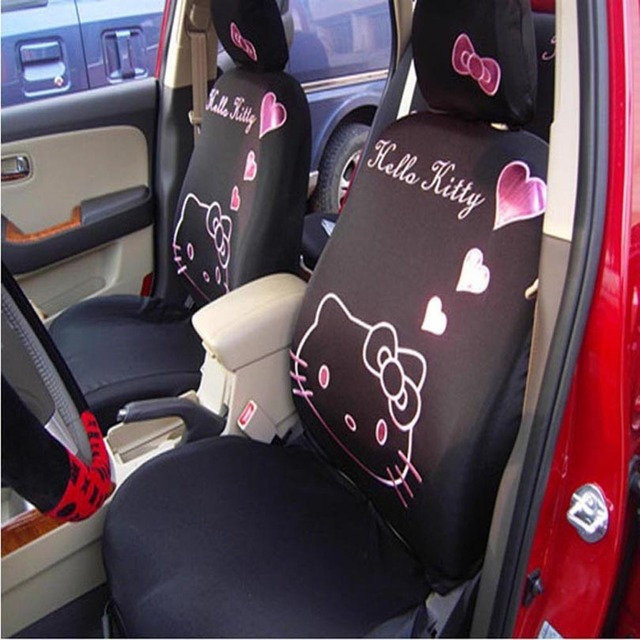 Universal Car Seat Cover Pink Heart Cartoon O Kitty