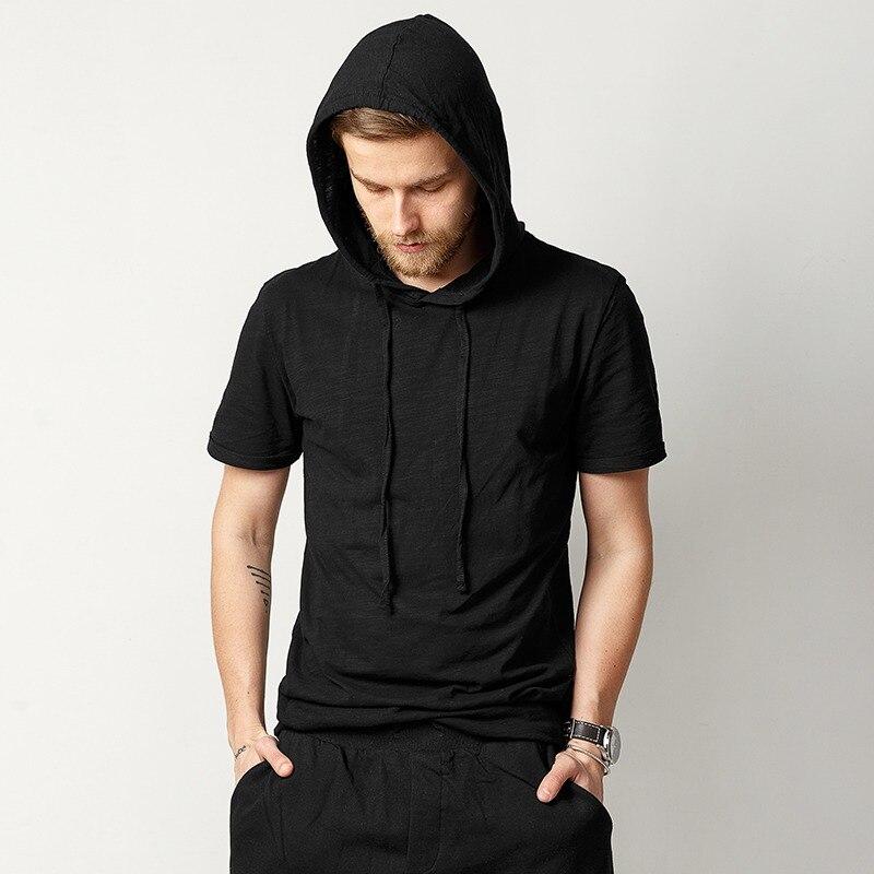 Spring Summer New Pure Bamboo Slub Cotton Man Hats Short Sleeved T-shirt Slim Male Long Hat Hip Hop Brand Design T-shirt T383