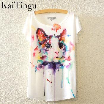 Cat Print Shirt O-Neck Short Sleeve T Shirt