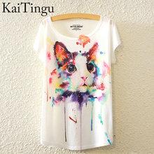 Módní tričko s krátkým rukávem a potiskem kočky
