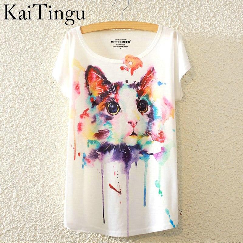 KaiTingu 2016 Brand New Estate di Modo Harajuku Cat Animal Print Shirt O-Collo Manica Corta T Shirt Donna Top T-Shirt Bianca