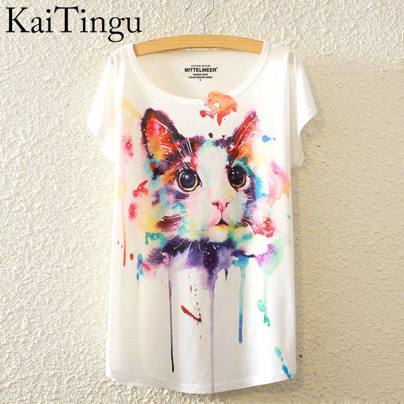 Kaitingu Новинка 2016 г. мода лето Harajuku кота футболка с о-образным вырезом короткий рукав Футболка Для женщин Топы корректирующие белая футболка
