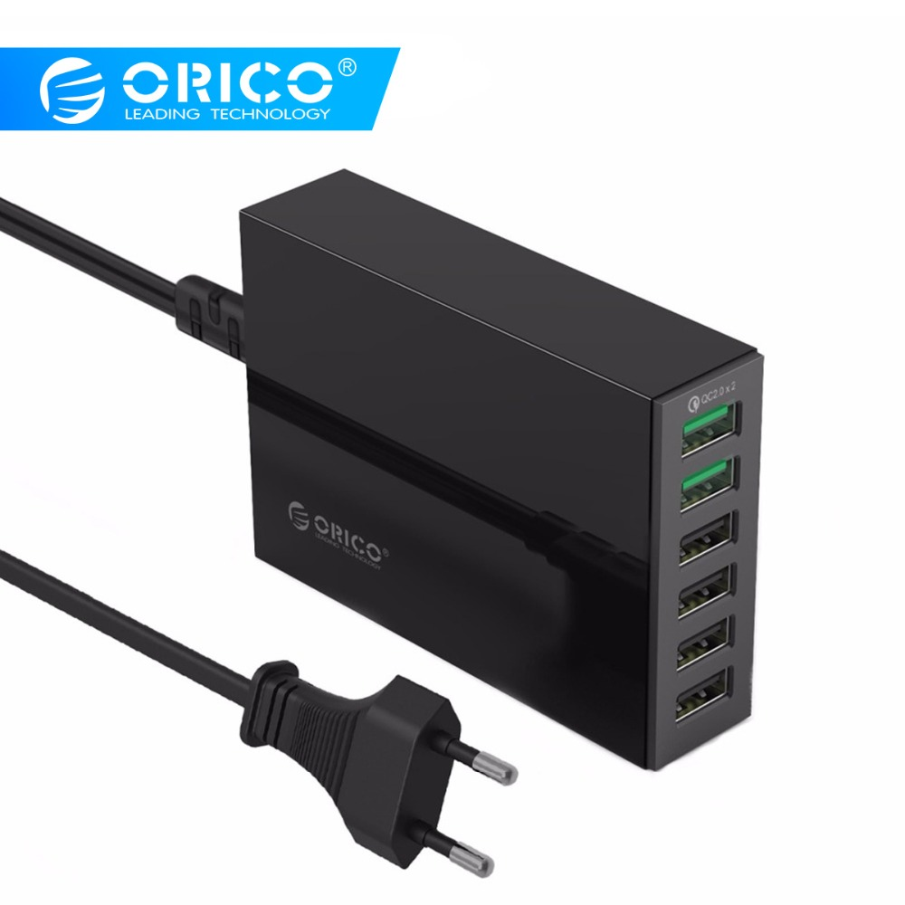 ORICO QSL 2 Ports QC 2.0 Quick Charger With 4 Ports 5V2.4A 50W Max Output Mobile