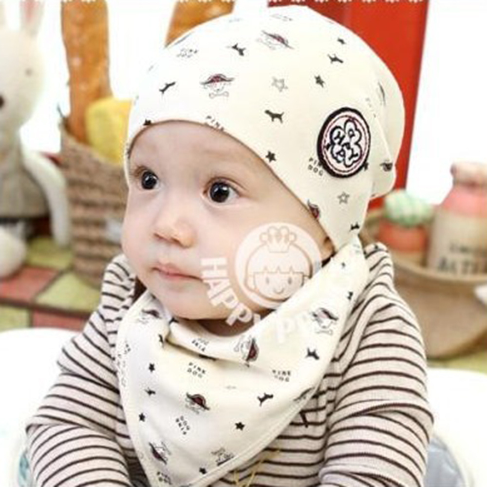 Newborn Baby Girl Boy Kids Bibs Cotton Hat Saliva Towel Triangle Head Scarf Set 2 layers newborn cartoon colorful baby boy girl bibs infant soft cotton toddler animal burp cloth waterproof saliva scarf towel