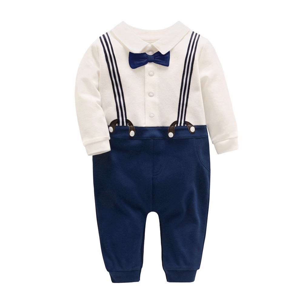 Picturesque Childhood Official Store 2018 Gentleman Rompers Baby Clothes Full Sleeve Solid Turn-down Collar Boy 2-1 Set Hot Sale mikrdoo baby boy gentleman clothes set striped pants bow shirt romper suit vest fake 2 pieces turn down collar age 0 2 years