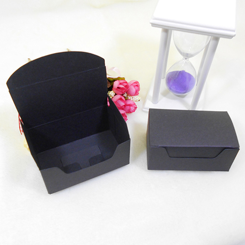 50pcs/lot-9.2*5.5*4cm Black Kraft Cardboard Boxes Gift Craft Play Business Name Card Tea Packaging Soap Paper Boxes