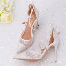 Woman Sandals White Lace Hollow Strap Sexy Thin Heels Wedding Party Female Shoes