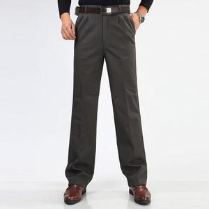 Image 4 - Inverno dos homens de lã engrossar calças moda masculina quente calças casuais lavar roupa dupla plissado algodão solto calças retas tamanho 46