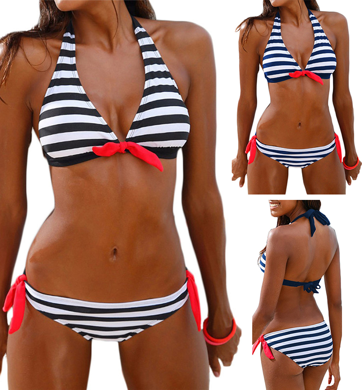 Sexy Women Bikini Set Striped Print Swimwear Padded Halter Style Bow Beachwear Bathing suit Plus Size Low Waist