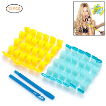 12 Pcs DIY Plastic Magic Long Hair Curlers Spiral Ringlets Wave Curl Formers Leverage Rollers Formers