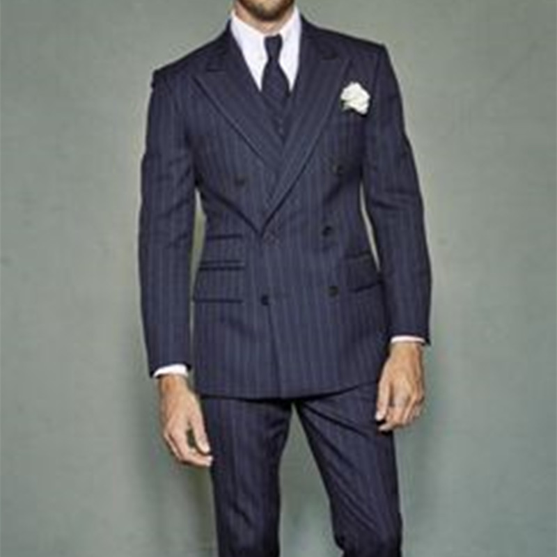 2017 Custom Slim Fit tuxedo jacket mannen Marineblauwe Notch Revers Bruidegom Smoking Mannen Pakken Man Business mannen Jasje + broek + vest + tie