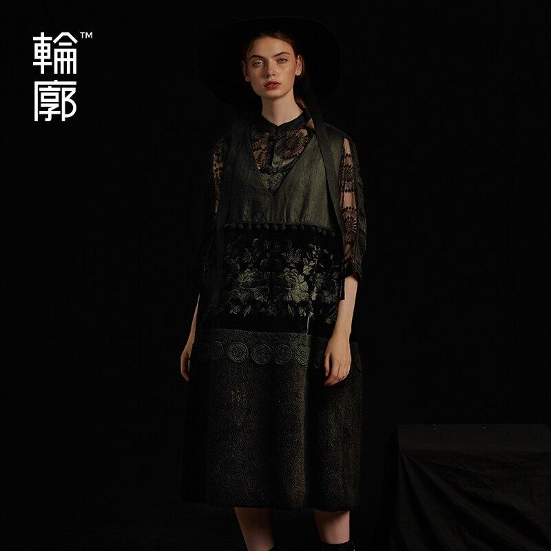 Outline Black V neck Medium Length Cotton Vest Three Dimensional Decoration Embroidery Stitching Thicken Cotton Vest
