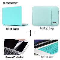 Matte Rubberized Hard Case Cover for Macbook New Pro 13 15 Retina 12 inch MAC Air 11 13 Laptop Shell+laptop bag+keyboard cover
