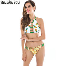 416a04fd9d SUNRAINBOW 2019 Sexy High Neck Halter Crop Bikinis Women Swimsuit Bandage  Swimwear Print Fruit Bikini Set Brazilian Bathing Suit