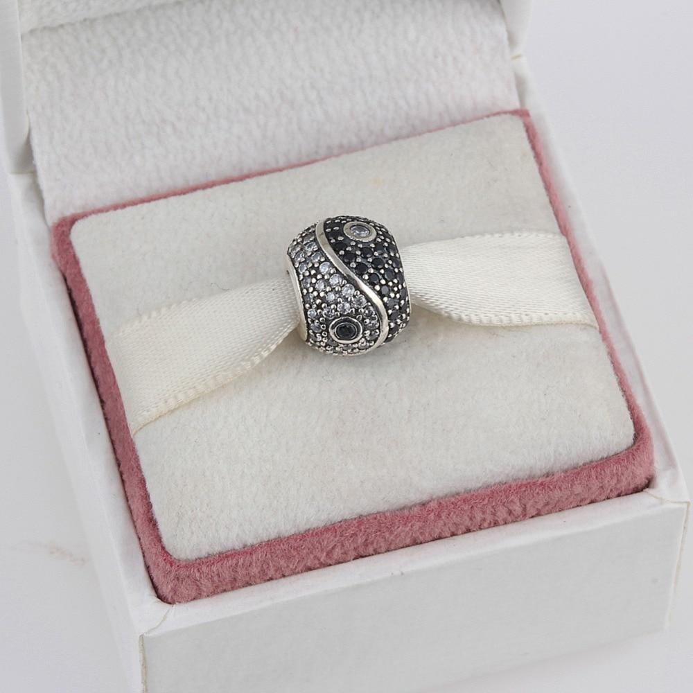 ZMZY 925 Sterling Argent Yin Yang Grand Trou Cristal Perles Strass Charms fit Pandora Bracelet Collier Femmes Bijoux