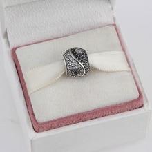 Zmzy 925 yin yang granos del rhinestone del agujero grande de cristal de plata esterlina encantos fit pandora pulsera collar de joyería de las mujeres