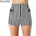 NiceMix 2017 Casual Summer Shorts Women High Waist Shorts Black And White Striped Zipper Decorated Slim Short Pantalon Femme